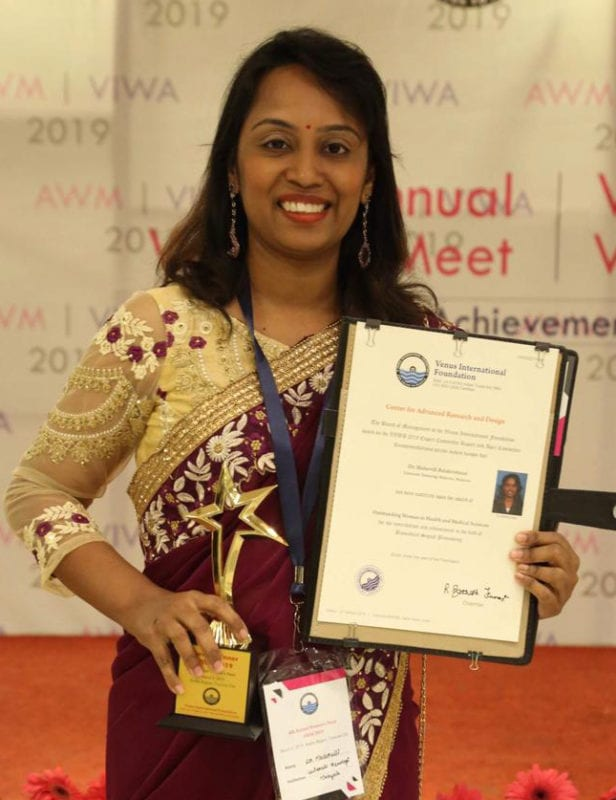Ir. Dr. Malarvili Balakrishnan receives the 4th Venus International Women Awards (VIWA) 2019