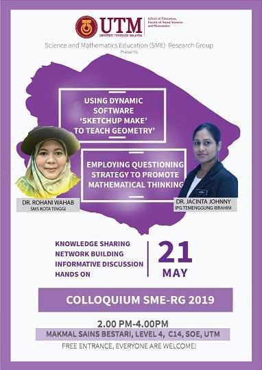 RG-SME from School of Education invites UTM Alumni  to Colloqium Session