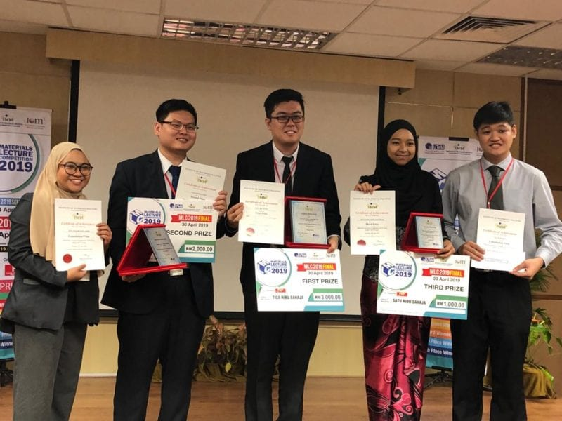 UTM Faculty of Science student announced first runner-up in National Material Lecture Competition 2019 Finals
