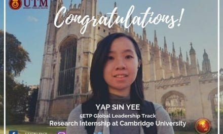 Research at University of Cambridge: Congratulations to 5ETP Student Yap Sin Yee!