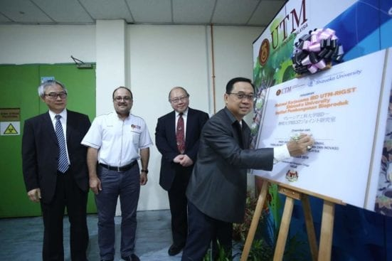 Prof. Datuk Dr Ahmad Fauzi Ismail, Deputy Vice Cancellor of the Universiti Teknologi Malaysia signing the plaque for the opening of UTM IBD – RIGST Shizuoka University Joint Laboratory for new platform of Bioprocess Industrialization
