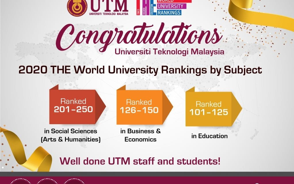 UTM is Now No. 1 in 3 Subjects as Ranked by THE