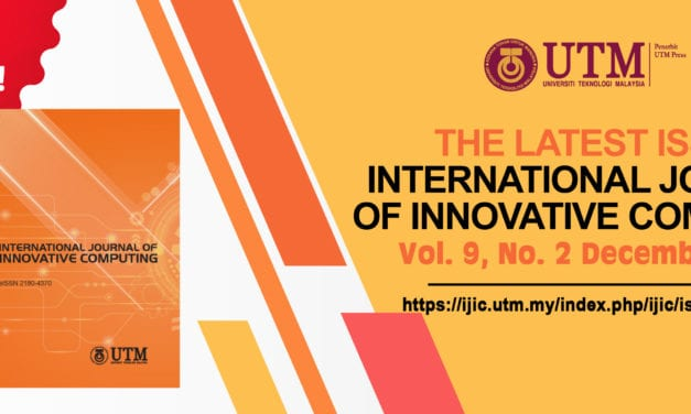 Notification Of Publication: International Journal Of Innovative Computing; Regular Issue Vol. 9 No. 2 December 2019