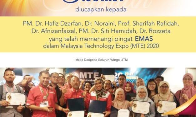 Lima penyelidik UTM terima pingat emas di MTE 2020
