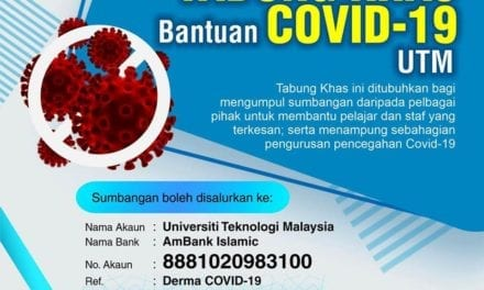 Tabung Covid 19 UTM cecah kutipan RM192,000.00