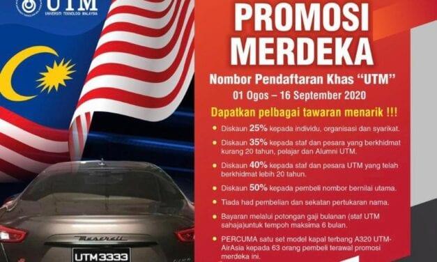 Diskaun Sehingga 50 Peratus Pembelian Nombor Pendaftaran Khas UTM Sempena Bulan Kemerdekaan Negara ke-63