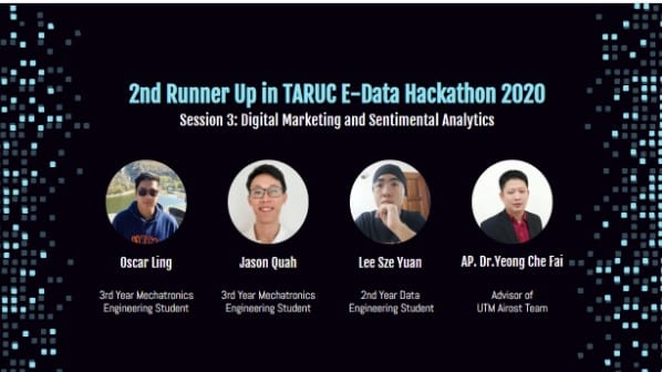 UTM Won 2nd Runner-up at TAR UC E-Data HACKATHON 2020