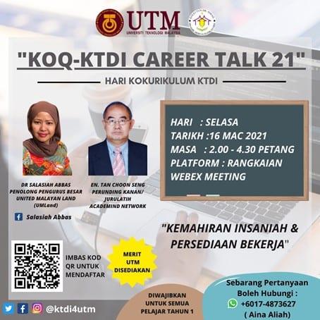 KOQ-KTDI Career Talk Enhances Students Mindset on Soft Skills and Job Preparations