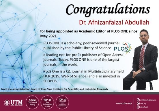 Congratulations Dr. Afnizanfaizal Abdullah for being Appointed as Academic Editor of PLOS ONE