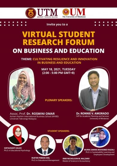 UTM-University of Mindanao Virtual Forum Features AHIBS Researcher and Student