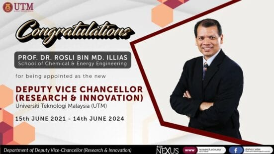 Welcome on Board the New Deputy Vice Chancellor (Research & Innovation) UTM