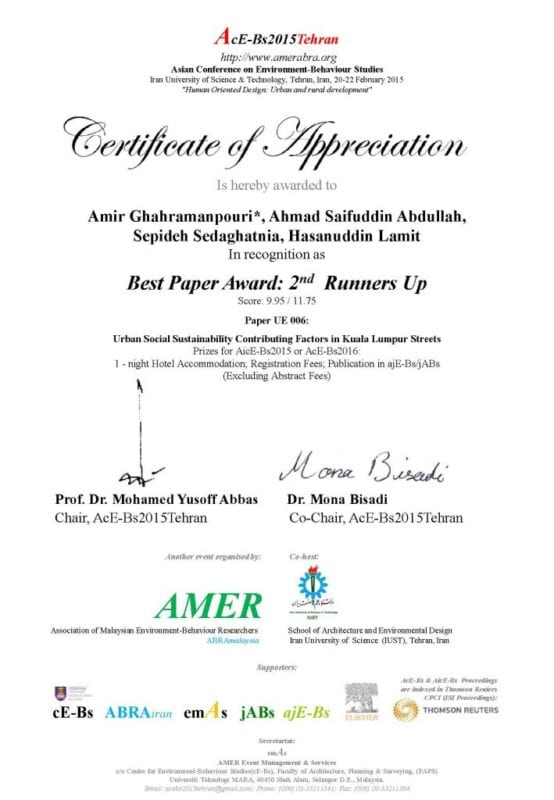 Best Paper Award Winner from Faculty of Built Environment at AcE-Bs2015Tehran, Iran